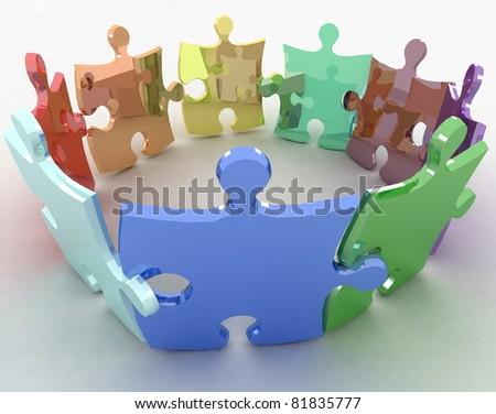 3d puzzle. Conception of simple decision. - stock photo