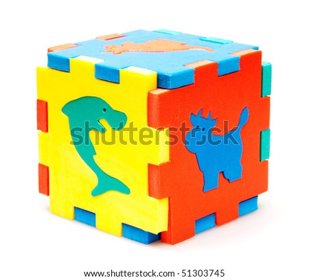 3d puzzle isolated on white - stock photo