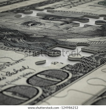 3d puzzle of dollar isolated on a white background - stock photo