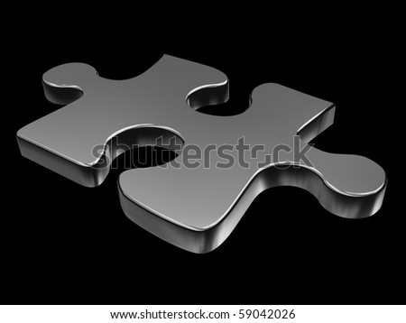 3D puzzle piece isolated on black