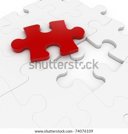 3d puzzle with red one isolated on white