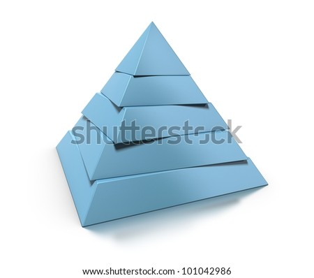 3d pyramid, five levels over white background with glossy reflection and shadow - stock photo