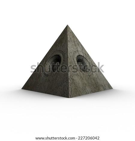 3d pyramid grunge old speaker sound system  - stock photo