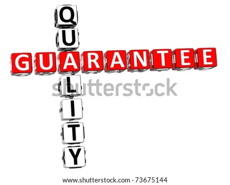3D Quality Guarantee Crossword on white background