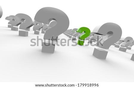 3D question mark concept green 2 - stock photo