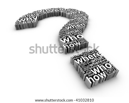 3d question mark made up of words on a white background