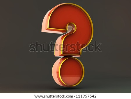 3d question mark on black background - stock photo