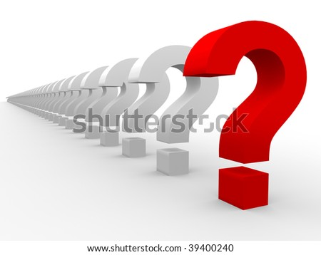 3D question marks - stock photo