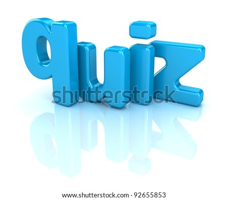 3D Quiz text on white background - stock photo