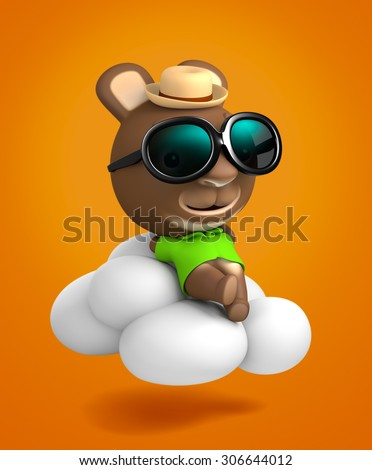 3D Rabbit Angel Cartoon with sunglasses Sleeping On Clouds, R.I.P (rest in peace) - stock photo