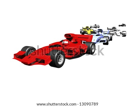 3D race cars lined up on white background