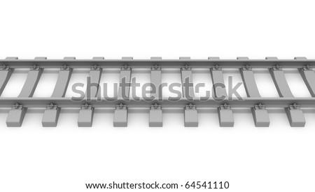 3d rails horizontal untextured gray - stock photo