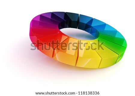 3d rainbow color wheel on white background - stock photo