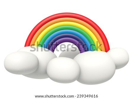 3D Rainbow with cloud pastel color Plasticine modeling clay, object front view isolated - stock photo