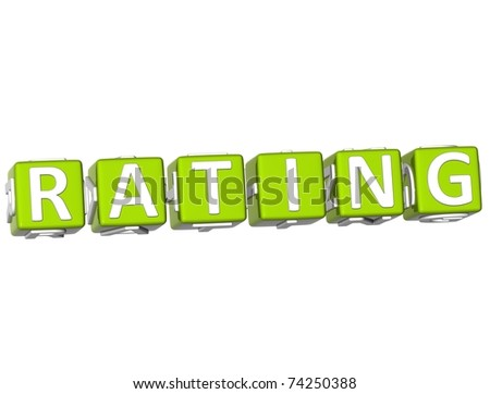 3D Rating Cube text on white background - stock photo