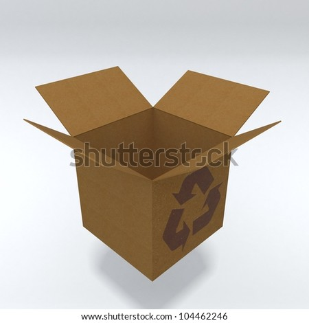 3d realistic cartboard box - stock photo