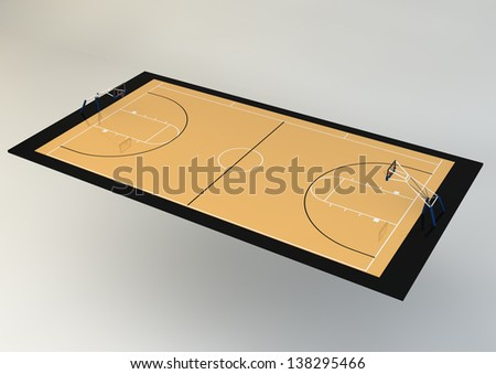 3d Realistic Illustration of Basketball Court - Perspective View, isolated on grey background - stock photo