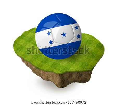 3d realistic soccer ball with the flag of Honduras on a piece of rock with stripped green soccer field on it. See whole set for other countries.  - stock photo