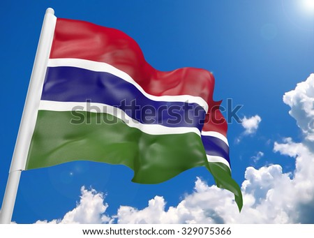 3D realistic waving flag of Gambia - stock photo