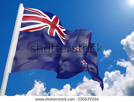3D realistic waving flag of New Zealand - stock photo