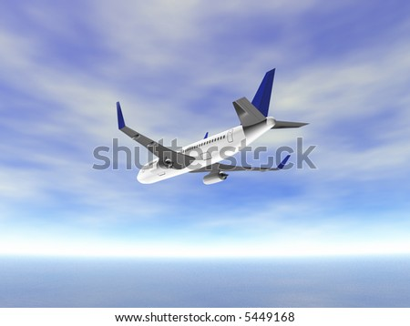 3D Rear view airplane in sky