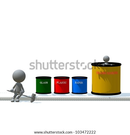 3D recycle person and trash maker - stock photo