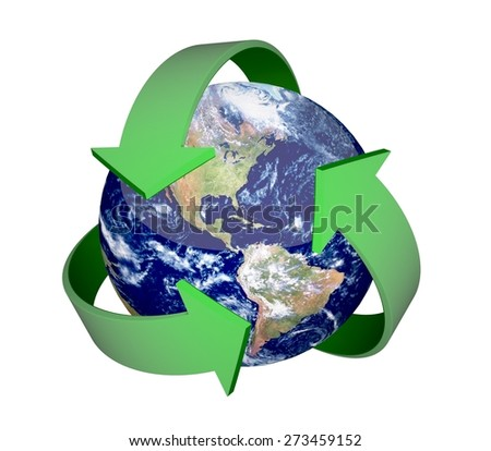 3D. Recycling Symbol, Recycling, Earth. Elements of this image furnished by NASA. - stock photo