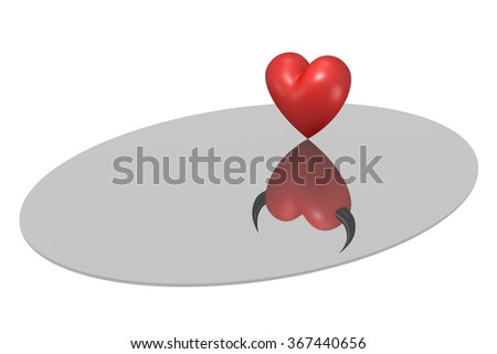 3D red and black hearts on a mirror - stock photo