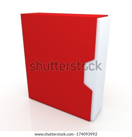 3d red and clean white box dovetail option container blank template in isolated background with work paths, clipping paths included