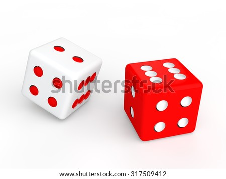 3d red and white contrasting dices