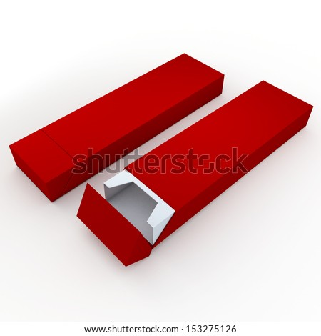3d red and white pencils packaging, pens, chocolate, carton box and packaging blank template in isolated with clipping paths, work paths included  - stock photo