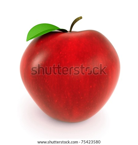 3d red apple rendered on white background - stock photo