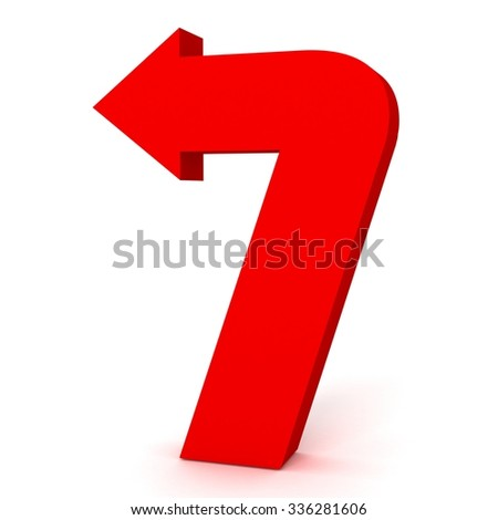 3d red arrow number seven 7 with isolated white background