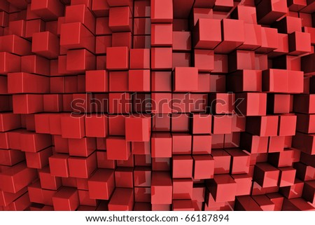 3D Red Blocks Abstract Background - stock photo