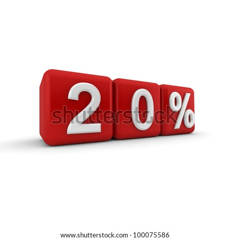 3D red blocks with white twenty percent text