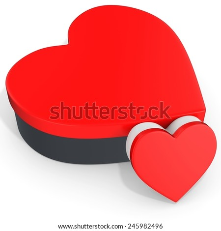 3d red boxes in the shape of heart on white background - stock photo
