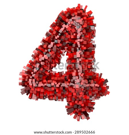 "3d ""Red Bricks"" creative decorative number 4 - stock photo"