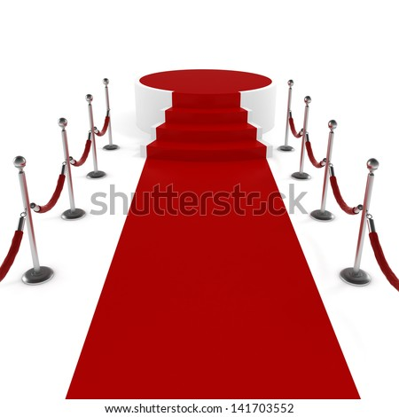 3d red carpet and podium on white background - stock photo