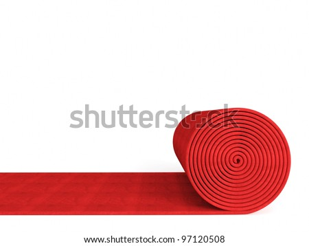 3d red carpet on white background