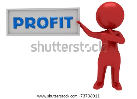3d red character showing profit text on board - stock photo