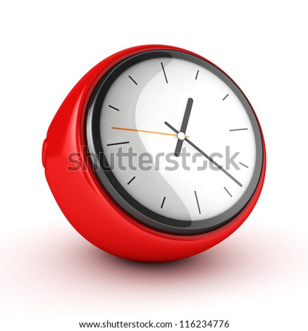 3D Red Clock isolated - stock photo