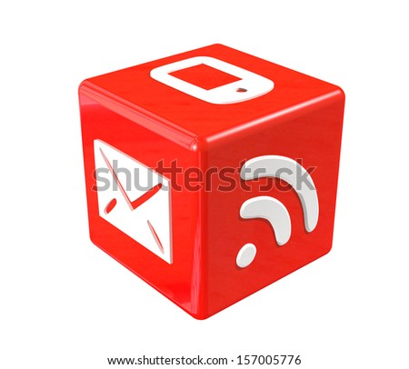 3d red cube with communication symbols - stock photo