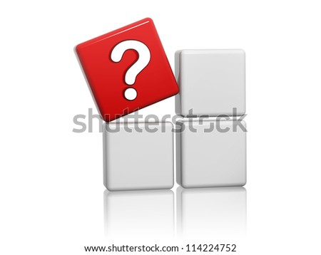 3d red cube with question-mark sign on grey boxes - stock photo