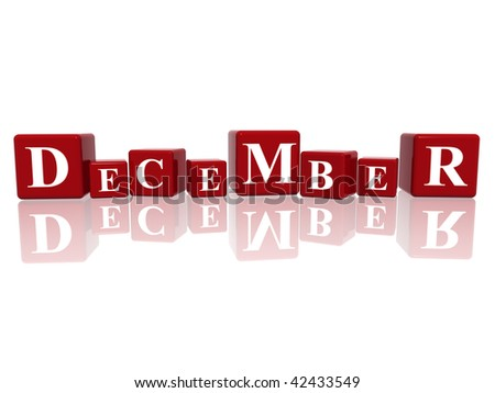 3d red cubes with letters makes December
