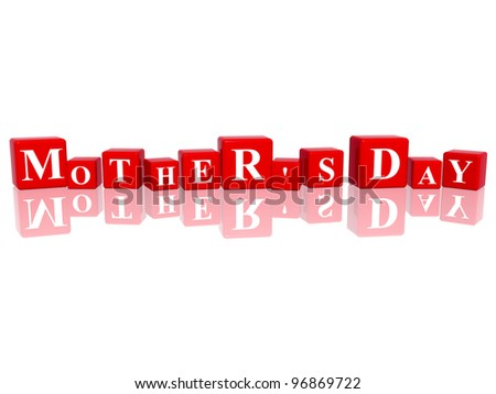 3d red cubes with letters makes mother's day - stock photo