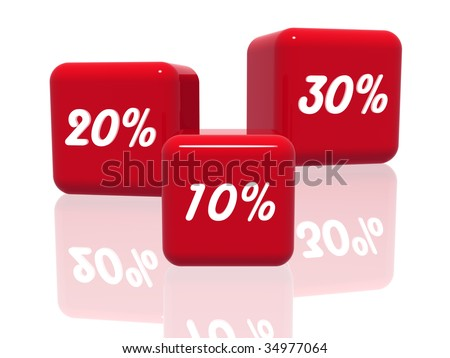 3d red cubes with ten, twenty and thirty percentages - stock photo