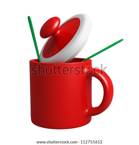 3D red cup design Santa Claus Christmas - stock photo