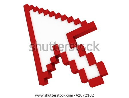 3d red cursor isolated on white background - stock photo