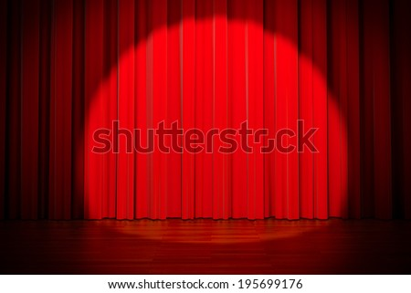 3d red curtain lit by spot light  - stock photo