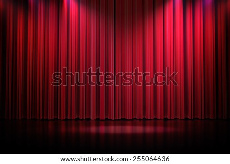 3d red curtain lit by spot lights - stock photo